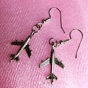 3/$15 Silver Tone Airplane Earrings